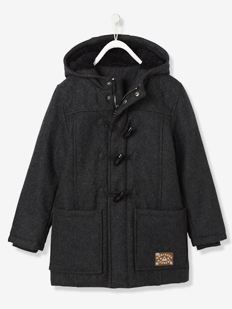 Boys' Duffle-Coat with Fleece Lining GREY DARK SOLID - vertbaudet enfant