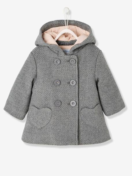 Baby Girls' Woollen Coat BLUE DARK SOLID+GREY MEDIUM MIXED COLOR+PINK DARK SOLID - vertbaudet enfant