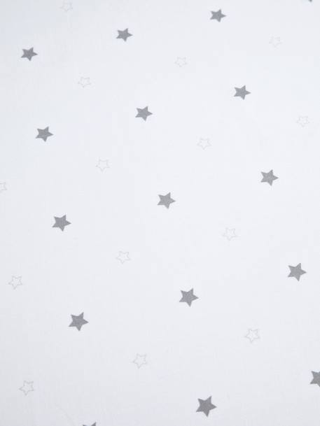Baby Fitted Sheet, Star Shower Theme WHITE LIGHT ALL OVER PRINTED - vertbaudet enfant