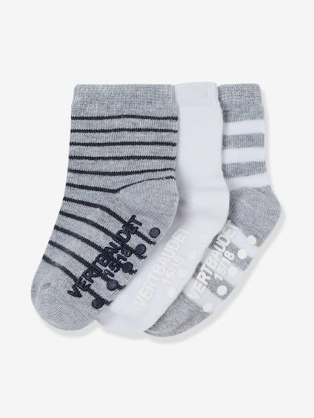 Pack of 3 Pairs of Non-Slip Baby Socks BLUE DARK TWO COLOR/MULTICOL+GREY MEDIUM TWO COLOR/MULTICOL+PINK MEDIUM 2 COLOR/MULTICOL - vertbaudet enfant