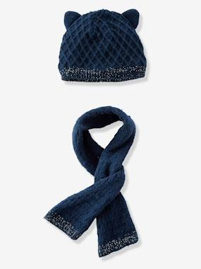 Baby-Hats & Accessories-Baby Girls' Diamond Knit Beanie & Scarf, Lined