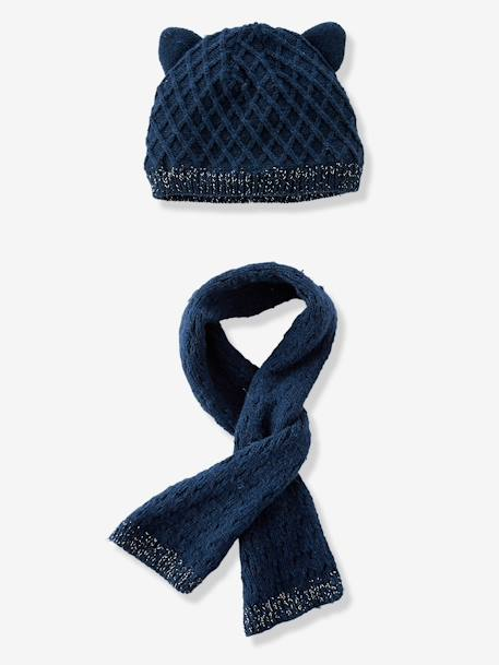 Baby Girls' Diamond Knit Beanie & Scarf, Lined BLUE DARK SOLID+WHITE LIGHT SOLID - vertbaudet enfant