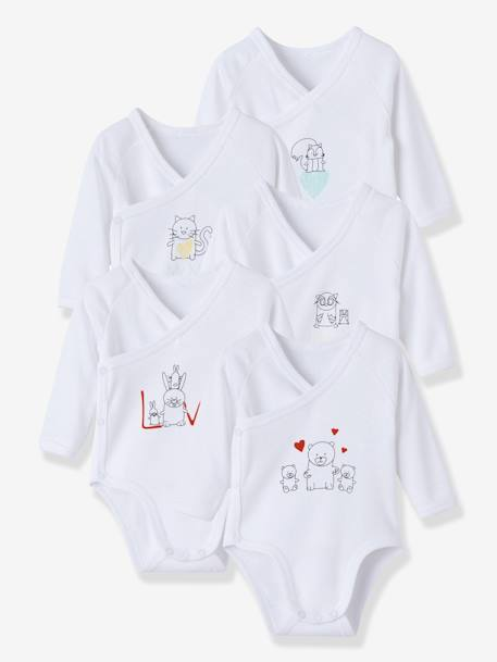 Newborn Baby Pack of 5 Long-Sleeved Bodysuits with Graphic Print Printed white - vertbaudet enfant