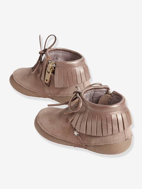 Girls' Supple Leather Slippers Beige - vertbaudet enfant