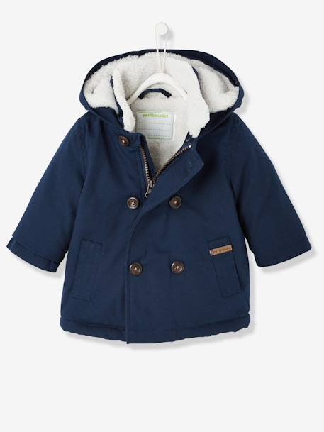 Baby Boys' Plush Lined Parka BLUE DARK SOLID - vertbaudet enfant