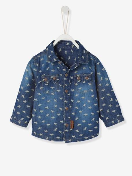 Baby Boys' Printed Denim Shirt BLUE DARK WASCHED - vertbaudet enfant