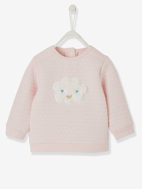 Baby Girls' Padded Sweatshirt PINK LIGHT SOLID WITH DESIGN - vertbaudet enfant