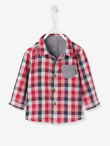 Baby's Checked Shirt GREEN DARK CHECKS+GREEN MEDIUM CHECKS+RED DARK CHECKS - vertbaudet enfant
