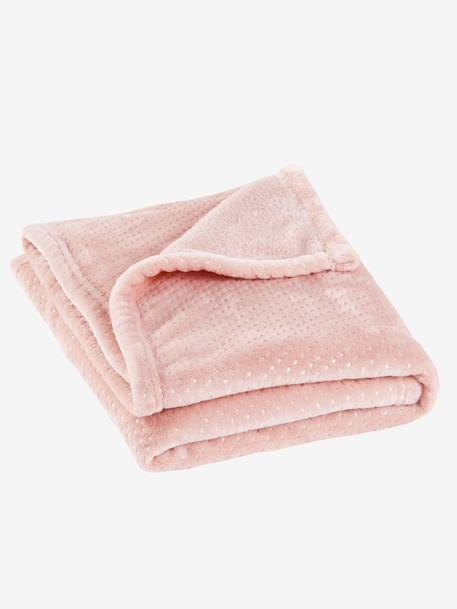 Polka Dot Fleece Blanket PINK LIGHT ALL OVER PRINTED - vertbaudet enfant