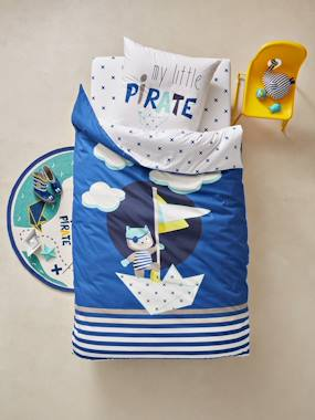 Bedroom-Children's Glow-in-the-Dark Duvet Cover & Pillowcase Set, Tiny Pirate Theme