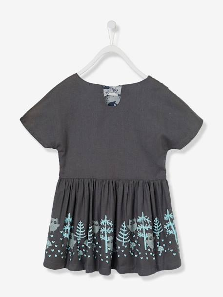 Girls' Reversible Twill Dress BLUE DARK SOLID WITH DESIGN+GREY DARK SOLID WITH DESIGN - vertbaudet enfant