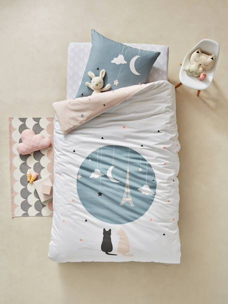 Children's Fitted Sheet, Like a Star Theme WHITE LIGHT ALL OVER PRINTED - vertbaudet enfant