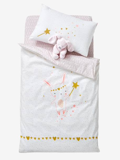 Baby Duvet Cover, Magic Theme PINK LIGHT ALL OVER PRINTED - vertbaudet enfant