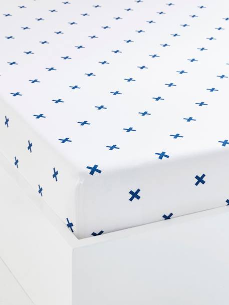 Children's Fitted Sheet, Tiny Pirate Theme WHITE LIGHT ALL OVER PRINTED - vertbaudet enfant
