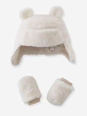 Baby-Newborn hats, Accessories-Baby Boys' Trapper Hat & Mittens Set, Fleece Lining