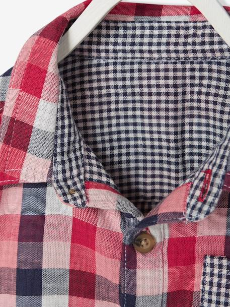 Baby's Checked Shirt GREEN DARK CHECKS+RED DARK CHECKS - vertbaudet enfant