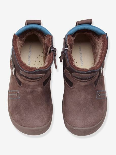 Boys' Fur-Lined Boots, Designed for Autonomy BROWN DARK SOLID - vertbaudet enfant