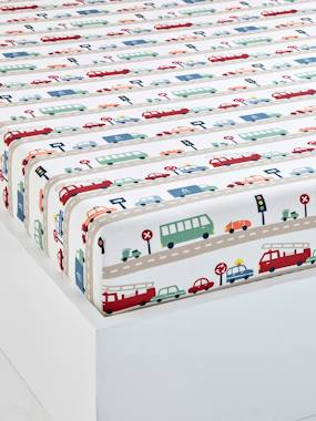 Bedding & Decor-Children's Fitted Sheet, Auto City Theme