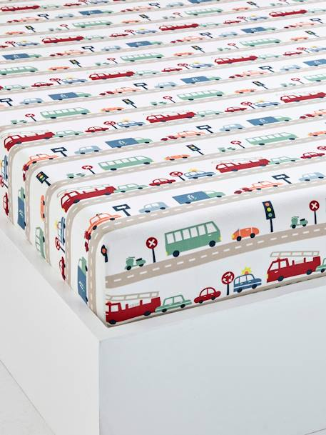Children's Fitted Sheet, Auto City Theme BEIGE MEDIUM ALL OVER PRINTED - vertbaudet enfant