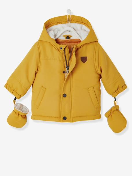 Baby Boys' 3-in-1 Adaptable Parka BLUE DARK SOLID+YELLOW DARK SOLID - vertbaudet enfant