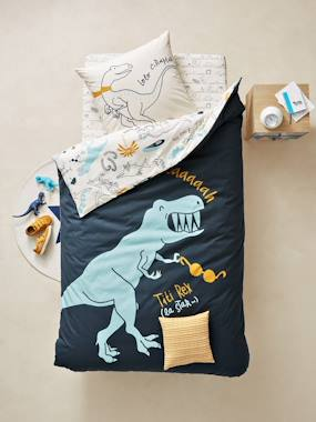 Bedroom-Children's Reversible Duvet Cover & Pillowcase Set, Dinorama Theme