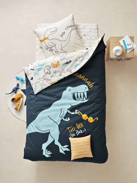 Children's Reversible Duvet Cover & Pillowcase Set, Dinorama Theme BLUE DARK ALL OVER PRINTED - vertbaudet enfant