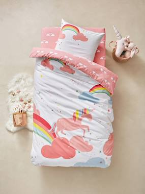 white-Children's Duvet Cover & Pillowcase Set, Unicorn Theme