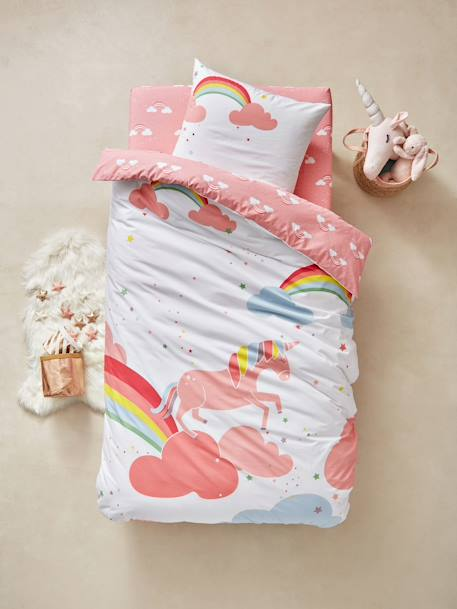 Children's Duvet Cover & Pillowcase Set, Unicorn Theme PINK LIGHT SOLID WITH DESIGN - vertbaudet enfant