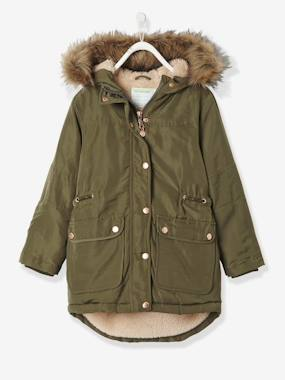 Girl-Girls' Parka with Plush Lining