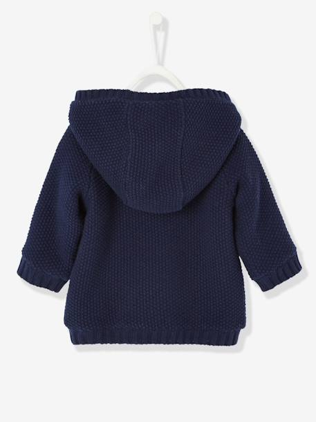 Baby Girls' Long Cardigan with Plush Lining BLUE DARK SOLID+RED LIGHT SOLID - vertbaudet enfant