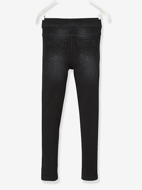 NARROW Fit - Girls' Stretch Denim Treggings BLACK DARK SOLID - vertbaudet enfant
