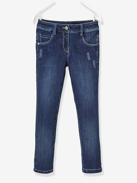 NARROW Fit - Girls' Stretch Denim Trousers BLUE DARK WASCHED+BLUE LIGHT WASCHED - vertbaudet enfant