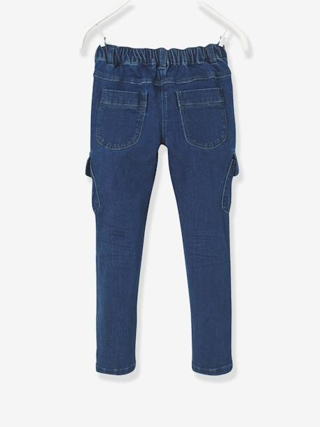 NARROW Fit - Girls' Slim Trousers BLUE DARK WASCHED - vertbaudet enfant