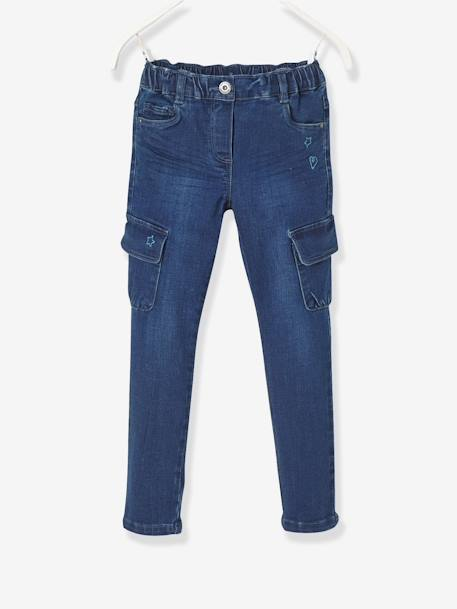 WIDE Fit - Girls' Slim Trousers BLUE DARK WASCHED - vertbaudet enfant