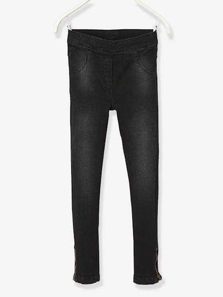 MEDIUM Fit - Girls' Stretch Denim Treggings BLACK DARK SOLID - vertbaudet enfant