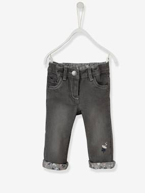 Vertbaudet - Trousers girls boys and babys-Baby Girls' Embroidered Jeans with Printed Turn-Ups