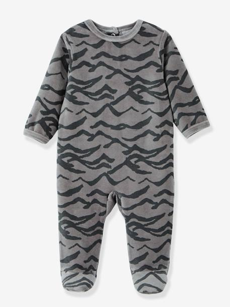 Pack of 3 Baby Velour Pyjamas, Front Press-Studs GREY LIGHT TWO COLOR/MULTICOL - vertbaudet enfant