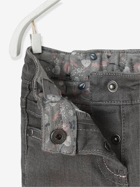 Baby Girls' Embroidered Jeans with Printed Turn-Ups GREY MEDIUM WASCHED - vertbaudet enfant