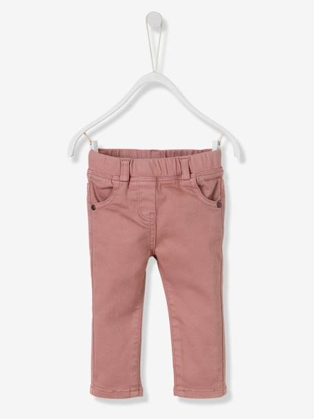 Baby Girls' Slim Fit Trousers BLUE DARK SOLID+PINK DARK SOLID - vertbaudet enfant