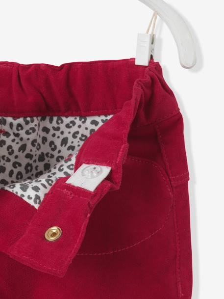 Baby Girls' Lined Velour Trousers & Belt GREY DARK SOLID+RED DARK SOLID - vertbaudet enfant
