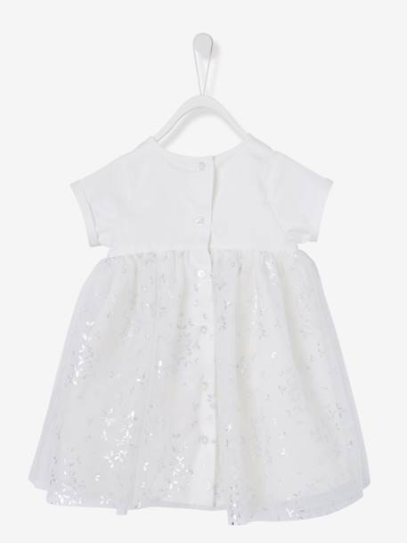 Baby Girls' Silvery Tulle Dress BLUE DARK ALL OVER PRINTED+PINK LIGHT ALL OVER PRINTED+WHITE LIGHT ALL OVER PRINTED - vertbaudet enfant