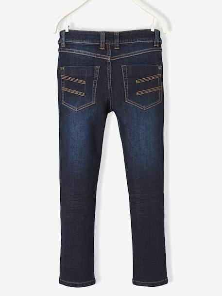Boys' Slim Cut Trousers in Breathable Denim BLUE DARK SOLID+BLUE DARK WASCHED - vertbaudet enfant