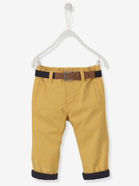 Baby-Trousers & Jeans-Baby Boys' Lined Fabric Trousers & Belt