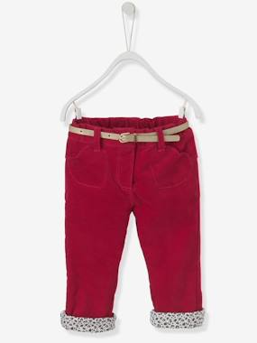 Vertbaudet - Trousers girls boys and babys-Baby Girls' Lined Velour Trousers & Belt