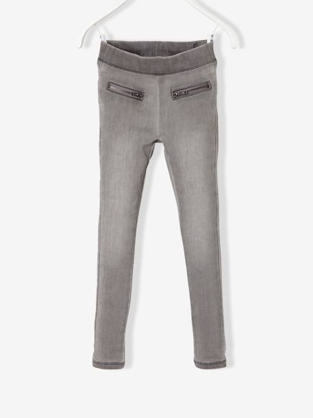 Girls' Fleece Jeggings GREY MEDIUM WASCHED - vertbaudet enfant