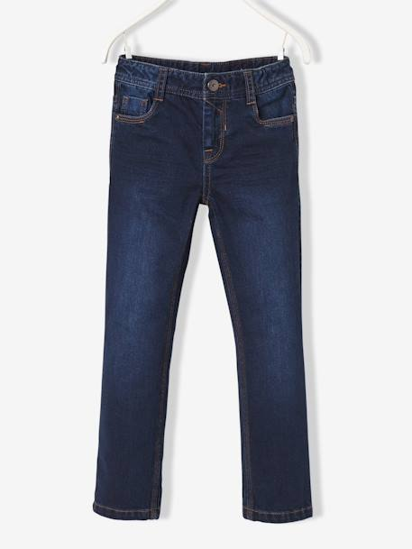 MEDIUM Fit - Boys' Straight Cut Trousers BLUE DARK SOLID+GREY MEDIUM WASCHED - vertbaudet enfant