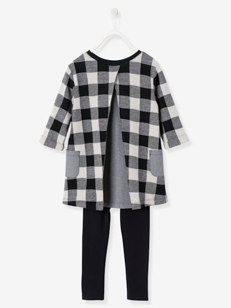 Girls' Dress & Leggings Set BLACK DARK CHECKS+GREY LIGHT MIXED COLOR+PINK MEDIUM SOLID WITH DESIG - vertbaudet enfant