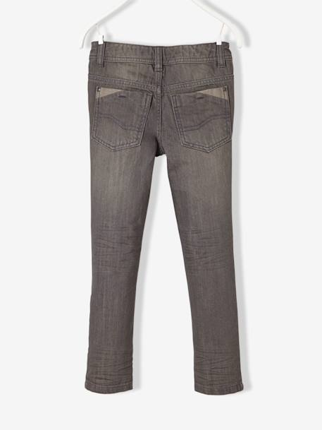NARROW Fit - Boys' Straight Cut Trousers BLUE DARK SOLID+GREY MEDIUM WASCHED - vertbaudet enfant