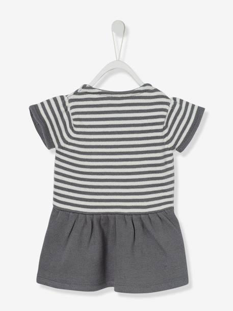 Baby Girls' Knitted Dress GREY DARK STRIPED+RED BRIGHT STRIPED+WHITE LIGHT STRIPED - vertbaudet enfant