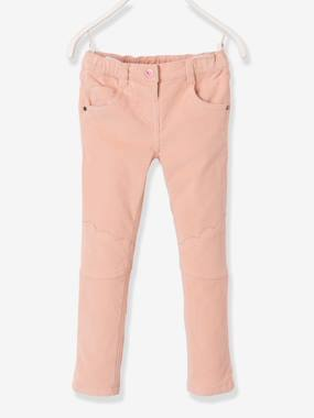Vertbaudet Collection-Girls-Trousers-Girls' Lined Velvet Slim Trousers